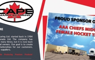 Cape Manufacturing: Proud Sponsor of the AAA Chiefs Midget Female Hockey Team